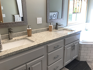 New vanity with granite countertop and double sinks