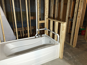 New bath build framing and rough in before finishing