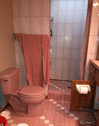 Old ugly pink bathroom before remodel