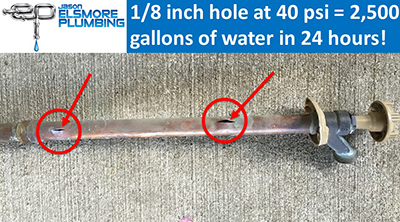 Waterline leak due to holes in copper pipe in Rochester, MN